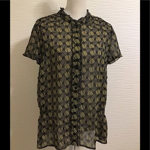 Lane Bryant Black Yellow Sheer Blouse Button Down